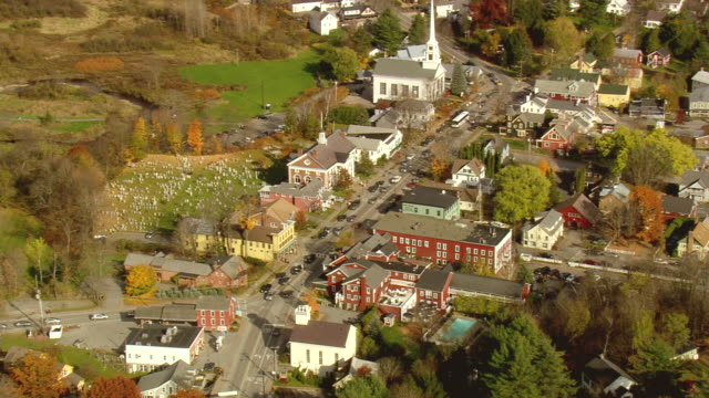 ms aerial view of traffic moving on road in stowe town / vermont, united states - stowe vermont stock videos & royalty-free footage