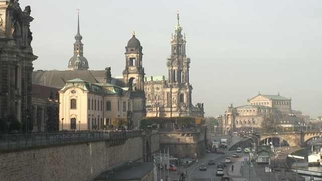 ws view of traffic moving on street at bruhlsche terrasse, hofkirche, semperoper / dresden, saxony, germany - hofkirche stock videos & royalty-free footage