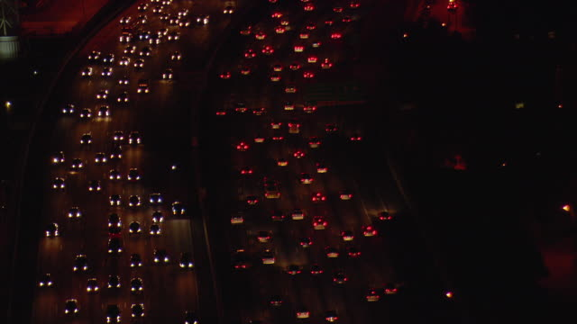 WS AERIAL View of Traffic moving on street at night / Atlanta, Georgia, United States