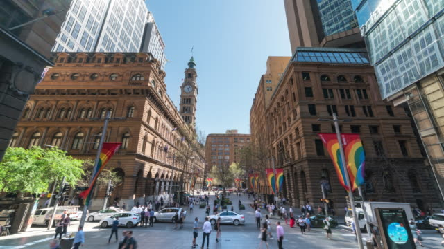 view of traffic moving on the road near martin place (town square; famous travel destinations) - human settlement stock videos & royalty-free footage