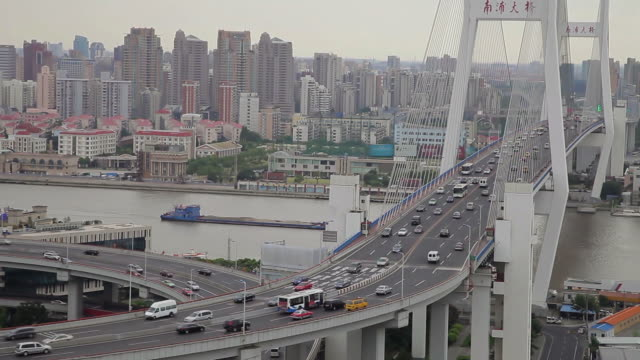vídeos y material grabado en eventos de stock de ws ha view of traffic on nanpu bridge / shanghai,  china - tiempo real
