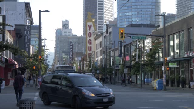 view of traffic on nelson and granville street vancouver british columbia canada north america - street stock videos & royalty-free footage
