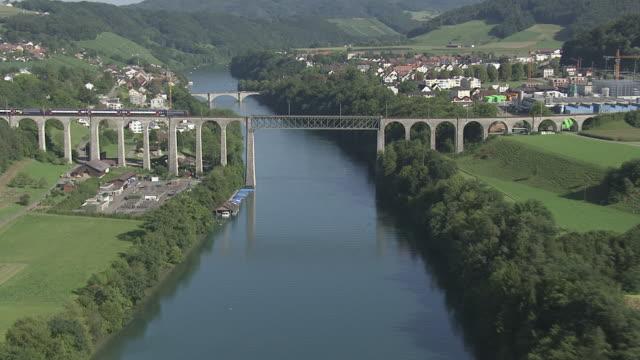 WS POV View of train moving on rail bridge / Eglisau, Zurich, Switzerland