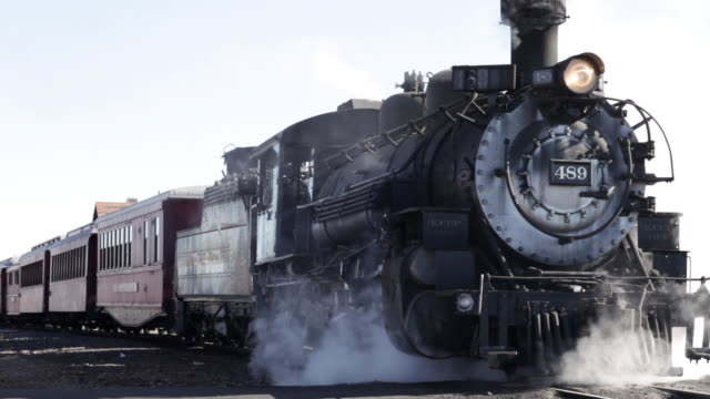 ws view of train moving on railroad track / antonito, colorado, usa - locomotive stock videos & royalty-free footage