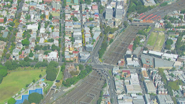WS AERIAL View of train tracks / Sydney, New South Wales, Australia