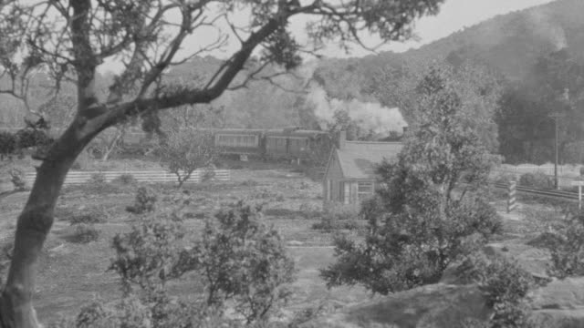 WS View of train traveling through countryside and pulling into train station