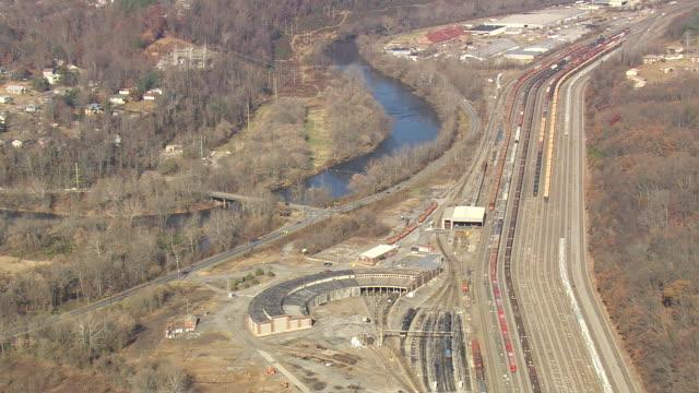 WS AERIAL View of train yard / North Carolina, United States