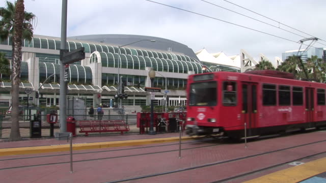 view of tram passing in san diego united states - san diego stock videos & royalty-free footage