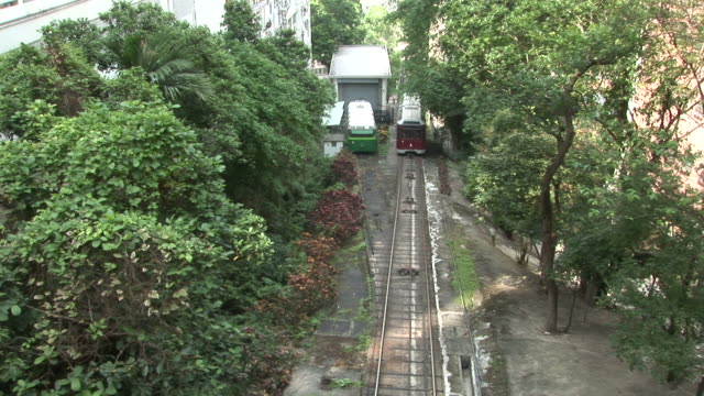 view of tram transportation to victoria peak in hong kong china - victoria peak stock videos & royalty-free footage