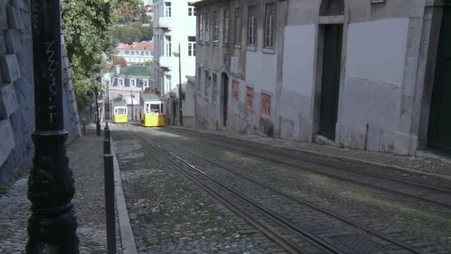 WS TS View of Tramway Da Gloria in Motion  / Lisbon, Lisbon, Portugal
