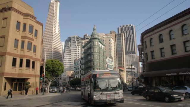 view of transamerica pyramid building and columbus tower on columbus avenue, north beach, san francisco, california, usa, north america - north beach san francisco stock videos and b-roll footage