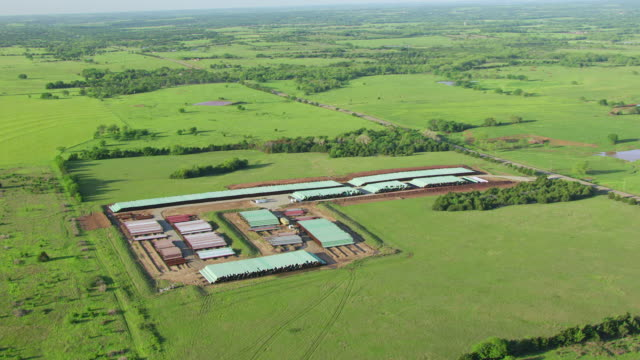 WS AERIAL View of TransCanda pipeline yard in payne countyand surrounding landscape / Oklahoma, United States