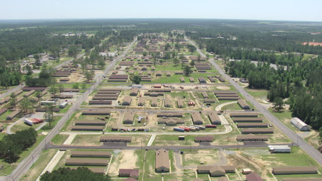 ws aerial view of traveling over barracks and campus at military post camp shelby / mississippi, united states - military base stock videos & royalty-free footage