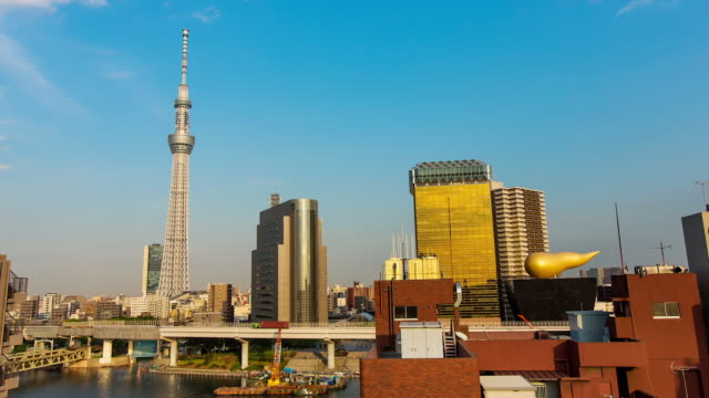 WS T/L View of tree communication tower and sumida river with asakusa area / Tokyo, Japan