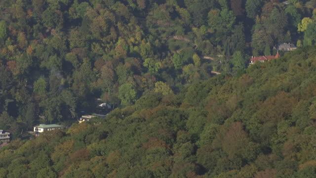 ws aerial view of trees and buildings / heidelberg, baden wurttemberg - ハイデルベルク点の映像素材/bロール