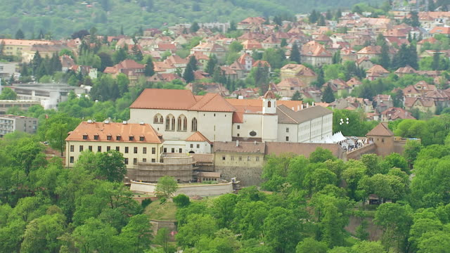WS AERIAL View of trees and church / Brno, Brno City District, Czech Republic