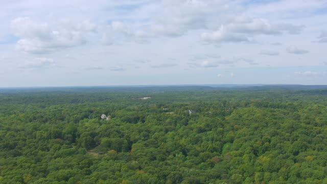 ws aerial pov view of trees and horizon / guilford, connecticut, united states - connecticut stock videos & royalty-free footage