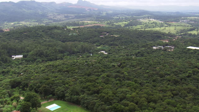 ws aerial view of trees and mountain / minas gerais, brazil - minas stock videos and b-roll footage