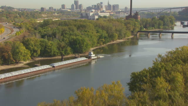 ws aerial view of trees and st paul / st paul, minnesota, united states - saint paul stock-videos und b-roll-filmmaterial