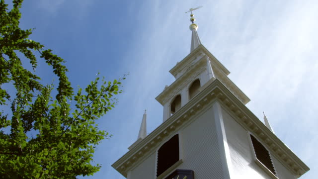 MS TU View of Trinity Church steeple and sky / Newport, Rhode Island, United States
