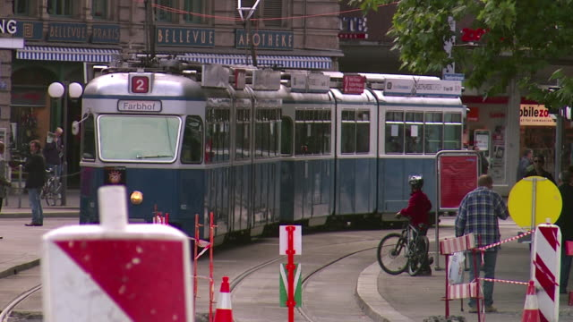 ws zo view of trolley bus moving on street / zurich, switzerland  - trolley bus stock videos & royalty-free footage