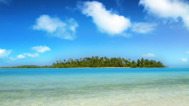 ws t/l view of tropical island / aitutaki, cook islands - cook islands stock videos & royalty-free footage