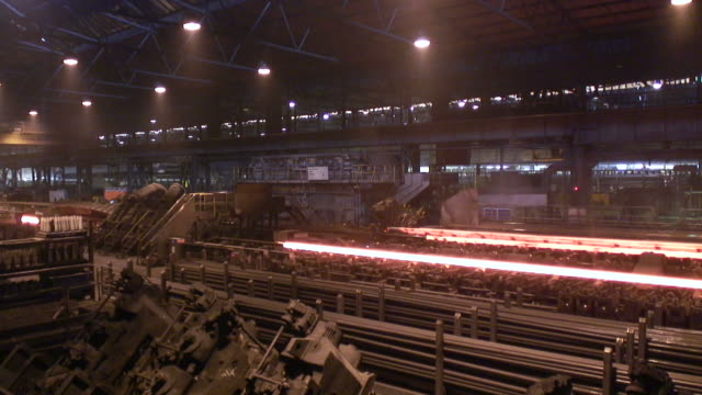 WS View of tube production at steel mill / Mulheim, North Rhine Westphalia, Germany