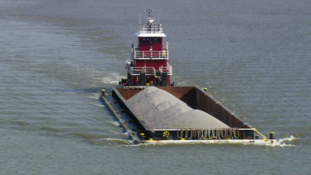 WS AERIAL ZI DS View of tugboat Tugboat Lorette Moran pushing barge / Virginia, United States
