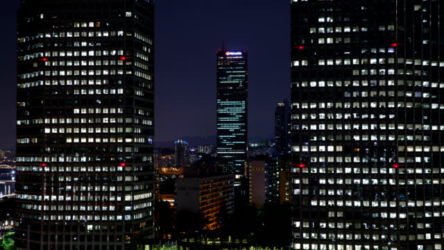 View of Twin Tower and 63 Building (remain the tallest skyscraper until 2009) in Yeouido financial district at night