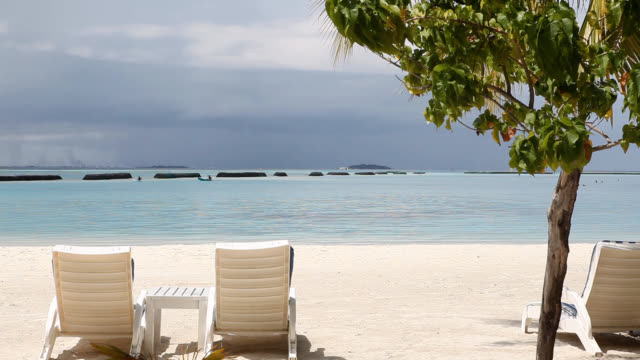 vídeos de stock, filmes e b-roll de view of two beach chairs next to a palm tree and seascape of maldives - cadeira de praia