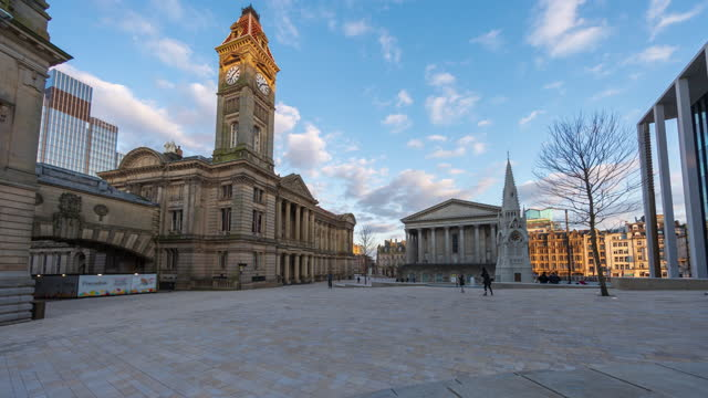 view of two chamberlain square and town hall in birmingham city centre - 4k time-lapse (tilt-up) - west midlands stock videos & royalty-free footage