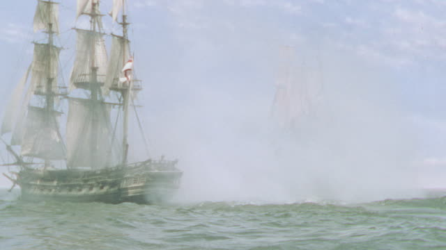 WS View of two clipper ships turn and go away
