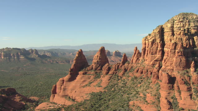 MS AERIAL View of Two Nuns rock formation / Sedona, Arizona, United States