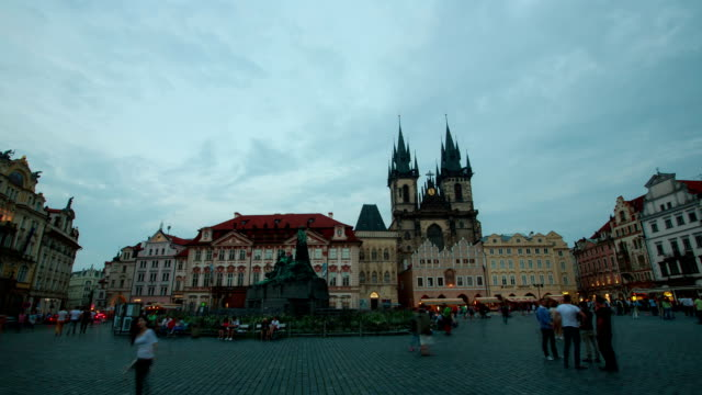 view of tyn church at prague old town square - prague old town square stock videos & royalty-free footage