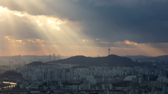 view of tyndall phenomenon near namsan mountain, seoul - light natural phenomenon stock videos & royalty-free footage