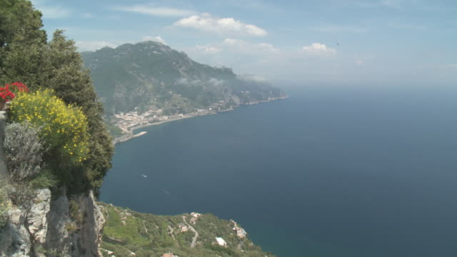 WS view of Tyrrhenian sea and serpentine road at Amalfi coast in Misty morning    / Agerola, Campania, Italy