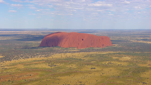 WS AERIAL TU ZI View of Uluru in national park / Uluru National Park, Northen Territory, Australia