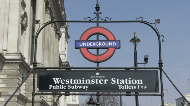 MS View of underground station sign / London, England, Great Britain