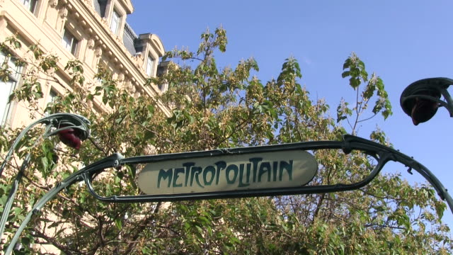 MS View of Underground station sign / Paris, Ile-de-France, France