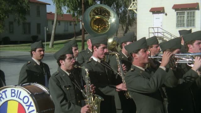 ws zo view of united states army band playing musical instruments / usa - 金管楽器点の映像素材/bロール