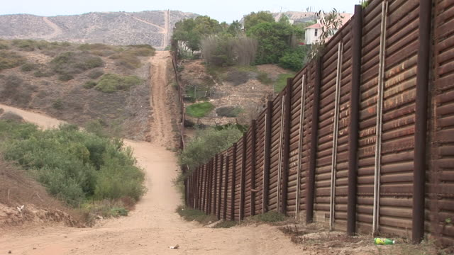 View of United States border fence in San Diego United States