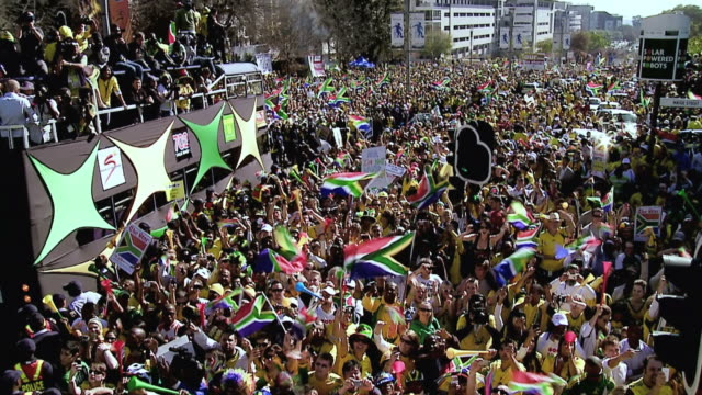 WS POV View of United We Shall Stand Parade in Sandton, Johannesburg / Johannesburg, Gauteng, South Africa