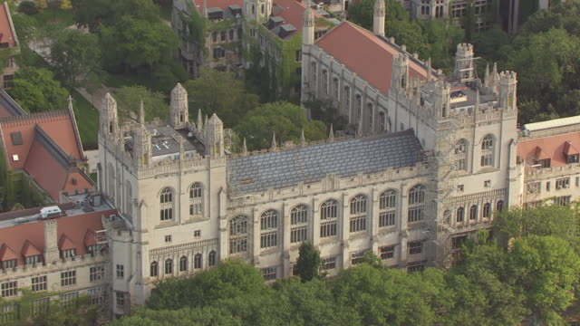 WS AERIAL POV View of University of Chicago / Chicago, Illinois, United States