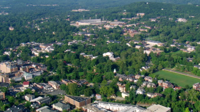 ws aerial ds zi view of university of virginia in poor weather / virginia, united states - university of virginia stock videos & royalty-free footage