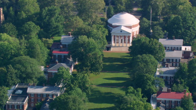 ws aerial ds zi zo view of university of virginia in poor weather / virginia, united states - university of virginia stock videos & royalty-free footage