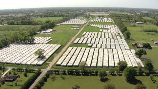 ws aerial view of unoccupied fema trailers in tightly packed rows / louisiana, united states - remote location stock videos & royalty-free footage