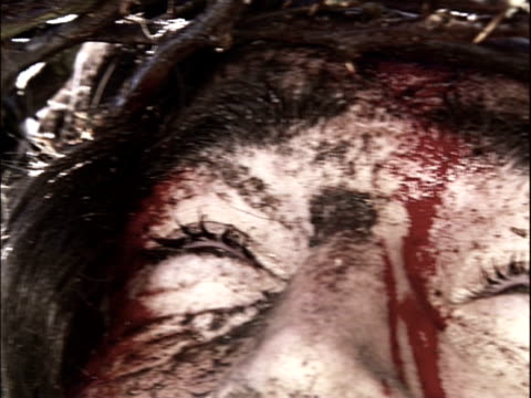 View of upper part of Jesus' face upon the cross