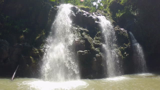 pov view of upper waikani falls waterfall in maui, hawaii. - slow motion - number 3 stock videos & royalty-free footage