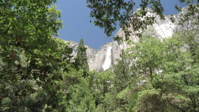 view of upper yosemite falls overlooking yosemite village, yosemite national park, unesco world heritage site, california, united states of america, north america - upper yosemite falls stock videos & royalty-free footage