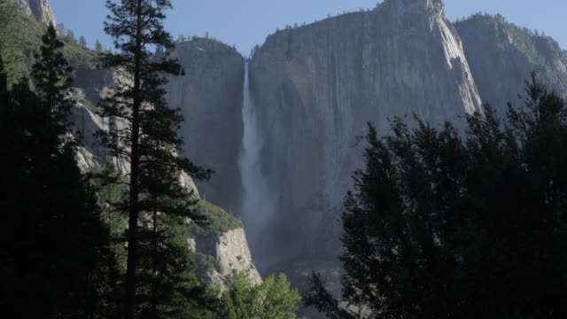 view of upper yosemite falls, yosemite national park, unesco world heritage site, california, united states of america, north america - upper yosemite falls stock videos & royalty-free footage